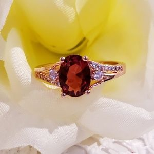 Jewelry - Ruby & White Topaz On A 14K Gold Plated SS Band